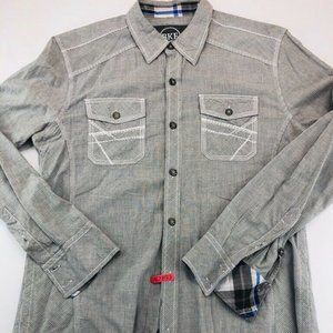 BKE Mens Button Front Shirt Gray Stripe